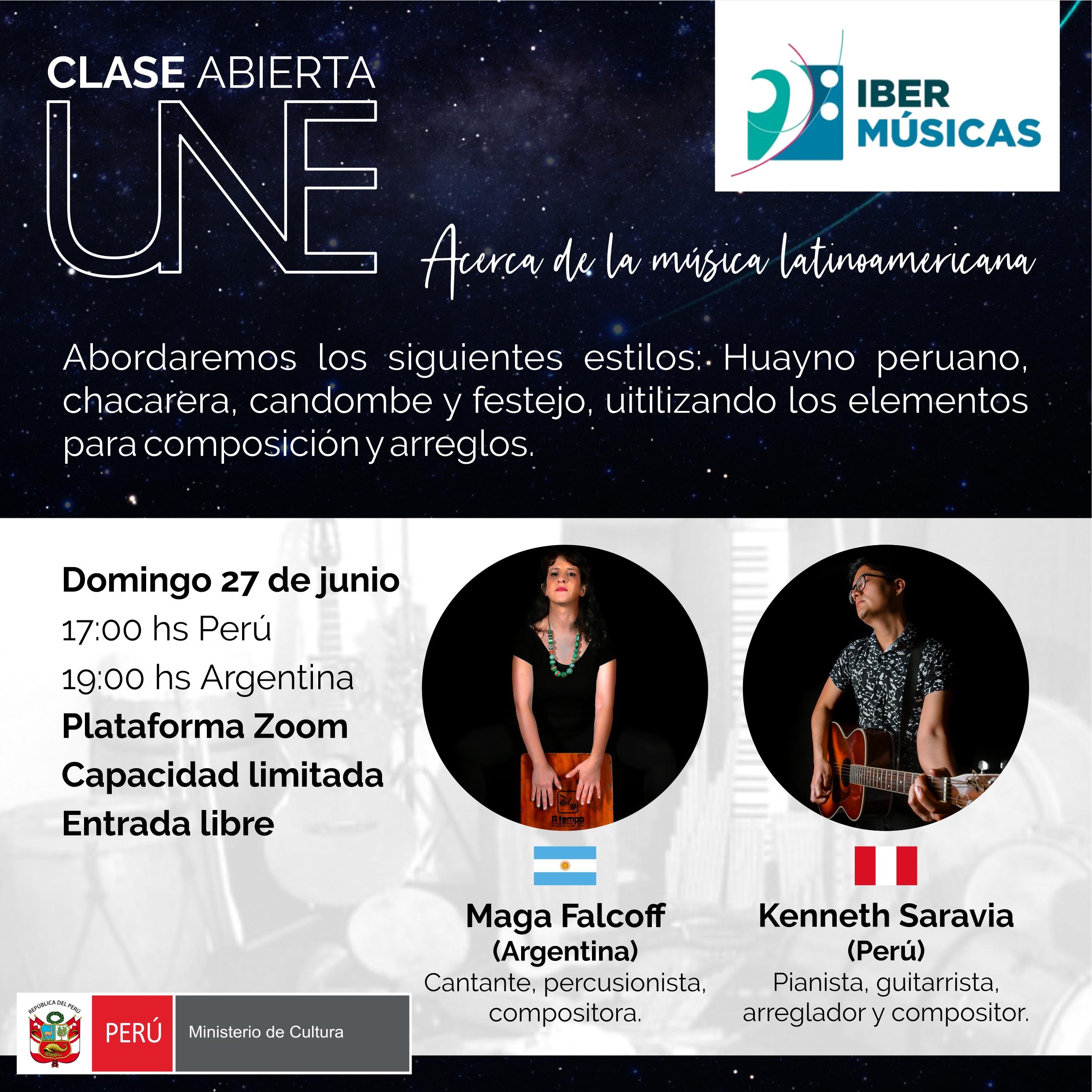 Maga Falcoff de Argentina y Kenneth Saravia de Perú se encuentran en UNE para brindar una clase abierta sobre ritmos y estilos latinoamericanos