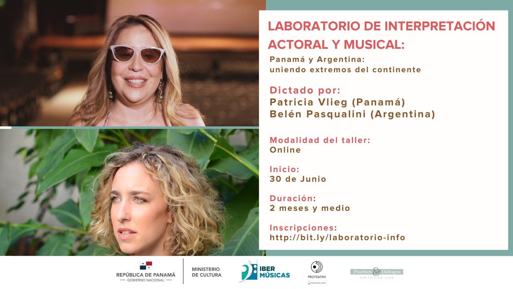 """Belén Pasqualini de Argentina y Patricia Vlieg de Panamá continúan su taller on line """"Técnicas y Lenguajes de Interpretación Actoral y Musical"""""""