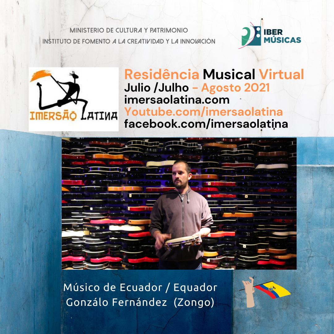 Jaime Gonzalo Fernández Lima (Zongo) de Ecuador inicia su Residência Imersão Latina 2021 en Belo Horizonte, Brasil